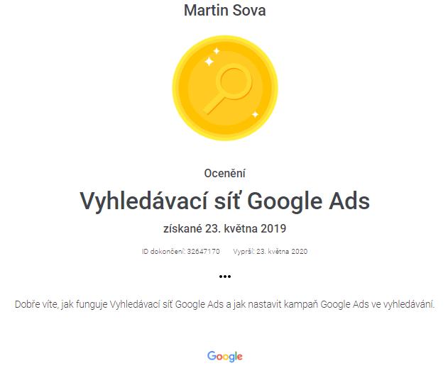 vyhledávací síť certifikát 2020