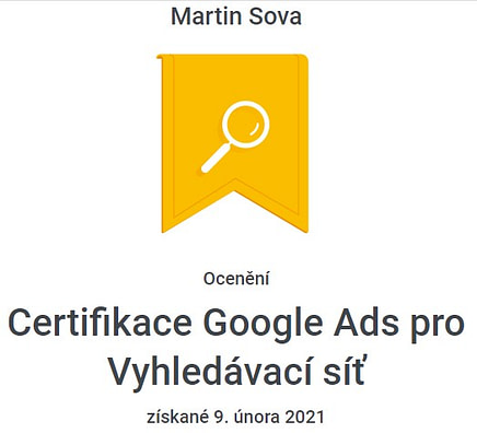 certifikace Google Ads vyhledávání - 2021 / 2022